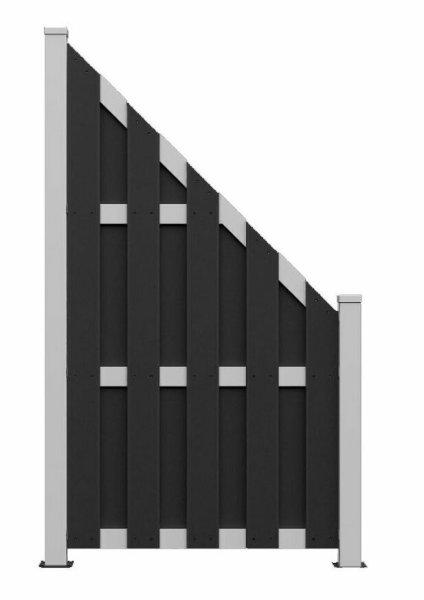 WPC Lamellenzaun in Black Abgeschrägt 90 x 180/90 cm